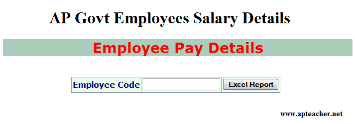 AP Govt Employees Salary Particulars, Andhra  Employees Salary details, AP Employees Salary Particulars, Employee Monthly Pay Particulars