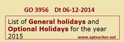 AP Govt HOLIDAYS General holidays and Optional Holidays for the year 2015